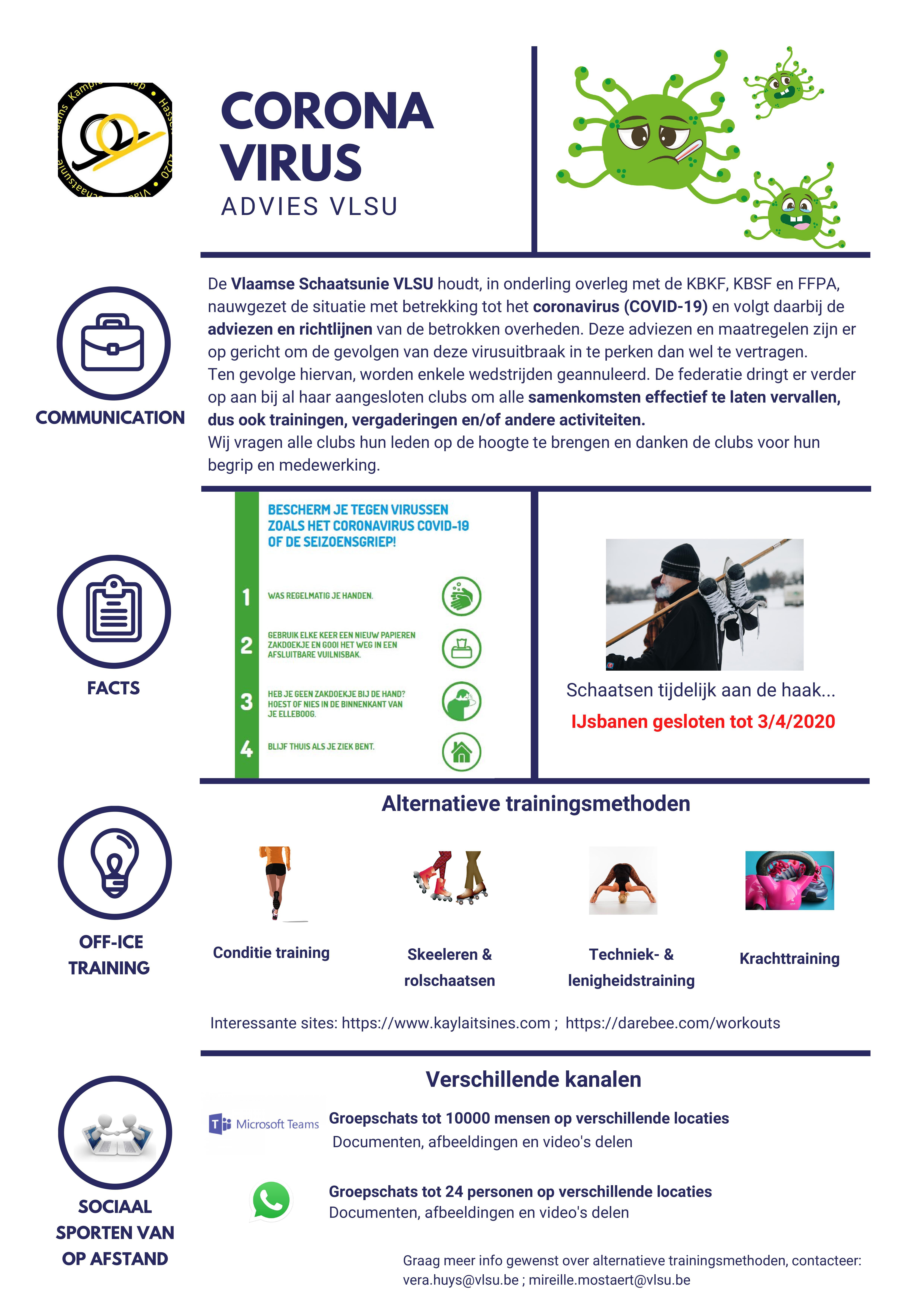 Coronabestrijding - tips van de VLSU